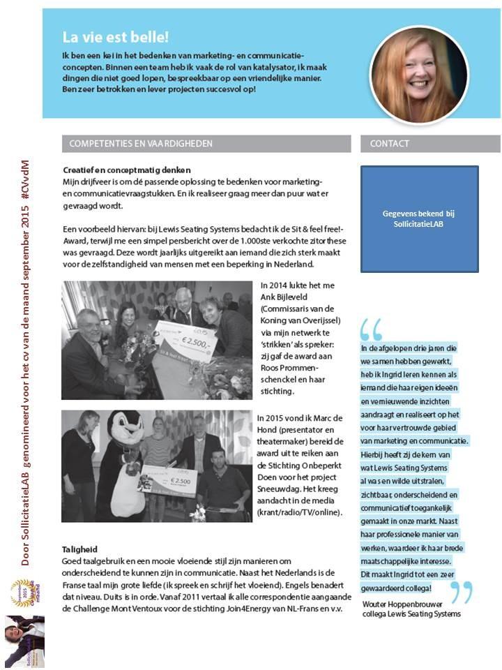 sollicitatie lab SollicitatieLAB:   Het cv van Ingrid sollicitatie lab